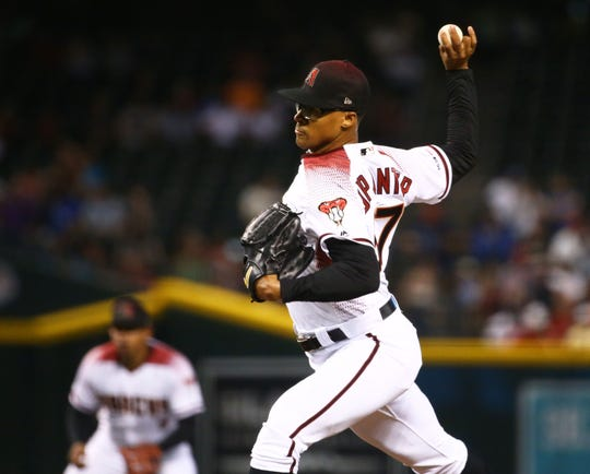 Arizona Diamondbacks pitcher Jon Duplantier throws to the Los Angeles Dodgers in the first inning on June 5, 2019 at Chase Field in Phoenix, Ariz.