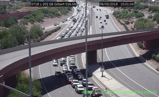 Heavy traffic on the eastbound Loop 202 freeway due to a crash and police activity on June 5, 2019.