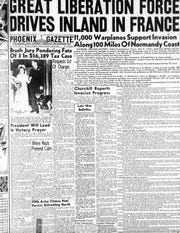 The front page of the Phoenix Gazette from June 6, 1944.