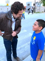 "Actor Mark Ruffalo talks with 6-year-old Jayden Ramirez after filming for the upcoming six-part HBO mini-series ""I Know This Much is True"" at Vassar Brothers Medical Center in Poughkeepsie June 4."