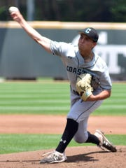 Dallastown High School graduate Nick Parker is shown here pitching for Coastal Carolina in an NCAA Division I playoff game vs. Florida A&M.