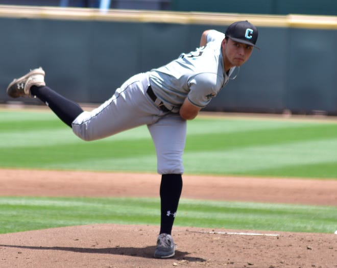 Dallastown High School graduate Nick Parker is shown here pitching for Coastal Carolina in an NCAA Division I playoff game on Saturday vs. Florida A&M. Parker picked up the win in the game.