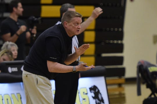 Central York coach Todd Goodling encourages his team late in a PIAA Class 3A boys' volleyball state semifinal Tuesday, June 4, 2019 at Red Lion.
