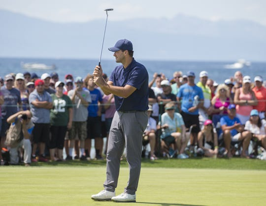 Tony Romo during the American Century Championship at Edgewood Tahoe Golf Course in Stateline last July.