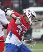 Fairport's Klay Stuver celebrates after a goal.