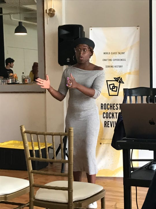 Hospitality activist Ashtin Berry speaks at the 2019 Rochester Cocktail Revival.