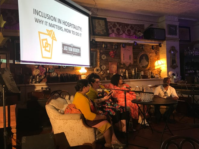 A seminar on inclusion in hospitality at the 2019 Rochester Cocktail Revival included (left to right): Rachel DeGuzman, president and CEO of 21st Century Arts, a Rochester-based arts consultancy; Rachel McKibbens, co-owner of the Spirit Room;Gabrielle Lewis, head bartender for the Spirit Room; and Jackie Summers, an entrepreneur.