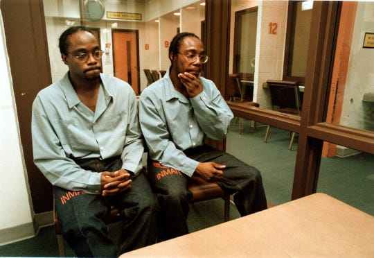 Laycelle and Lydell White, 21 at the time of this photograph, were sentenced to life for murdering an elderly couple in 1993.