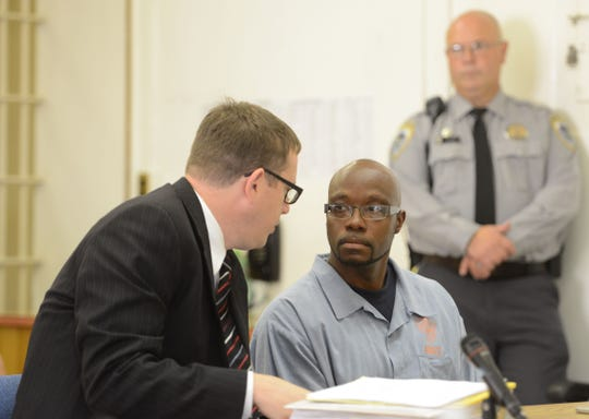 Inmate Laycelle White appears before the parole board during a 2012 hearing at the Oregon State Penitentiary in Salem.