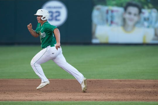Wall High School's Gage Weishuhn runs the bases in the UIL State Baseball Tournament June 7, 2017, at Round Rock's Dell Diamond.