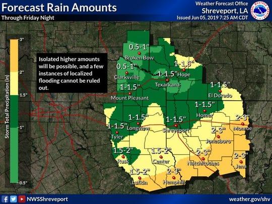 Forecasted rain amounts for June 5 - June 7.
