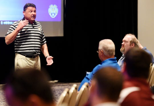 LSU coach Ed Orgeron addresses coaches at the Louisiana High School Coaches Association Convention, Wednesday June 5, 2019.