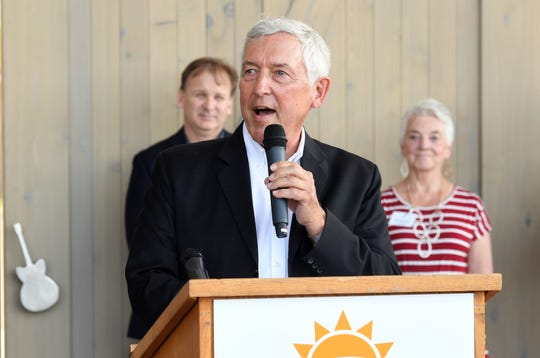 Tom Dempster speaks at the ribbon cutting ceremony for Levitt at the Falls on Wednesday, June 5, in Sioux Falls.