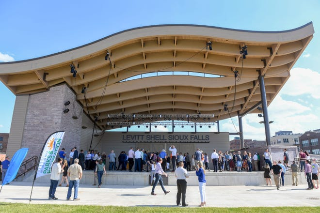 Citizens attend the Levitt at the Falls ribbon cutting ceremony Wednesday, June 5, in Sioux Falls.