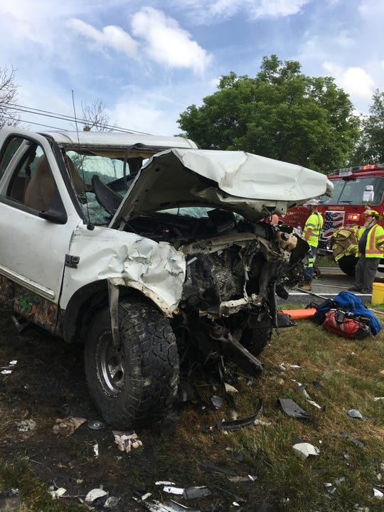 One of the two pickup trucks involved in a collision on Little Calf Pasture Highway on Wednesday, June 5, 2019.