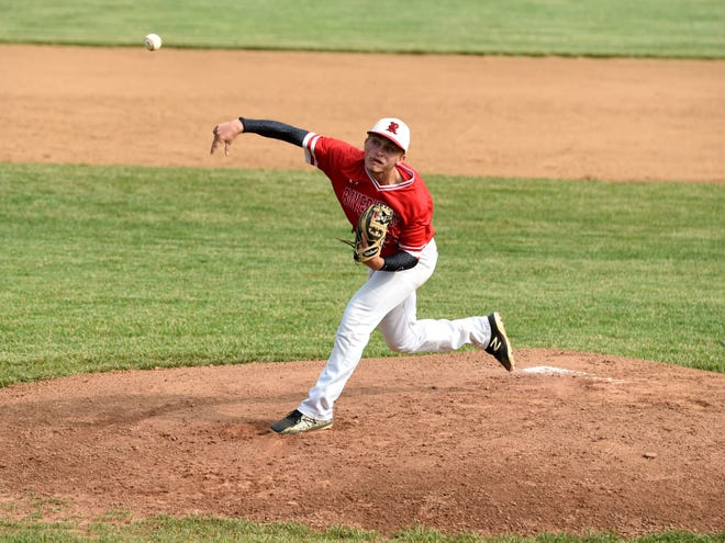 Elijah Dunlap started the game on the mound for Riverheads Tuesday. The Gladiators won the Class 1 state quarterfinal game.