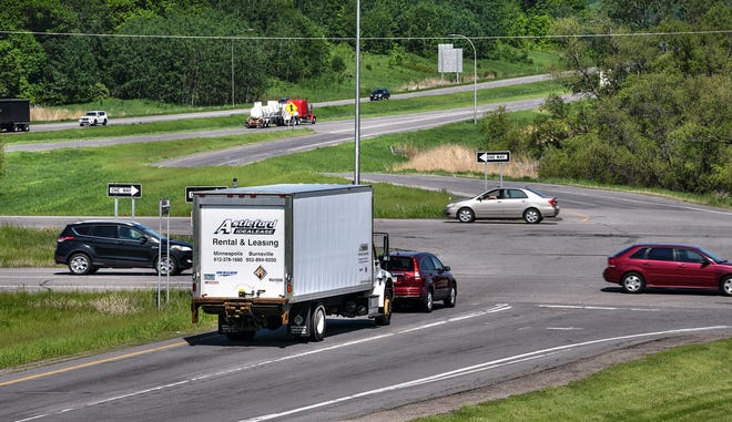 Traffic moves along the intersection of Interstate 94 and Minnesota Highway 23 Wednesday, June 5, south of St. Cloud.