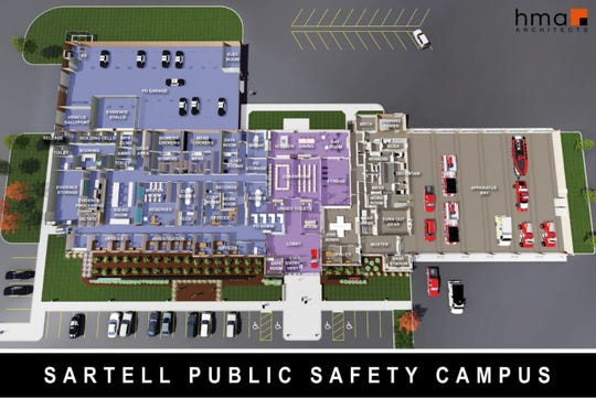 Interior rendering of new Public Safety Facilities. The Safe Room will be near the front entrance to the facility with a separate door to the outside.