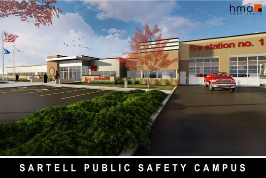 Exterior rendering of new Public Safety Facility plans.