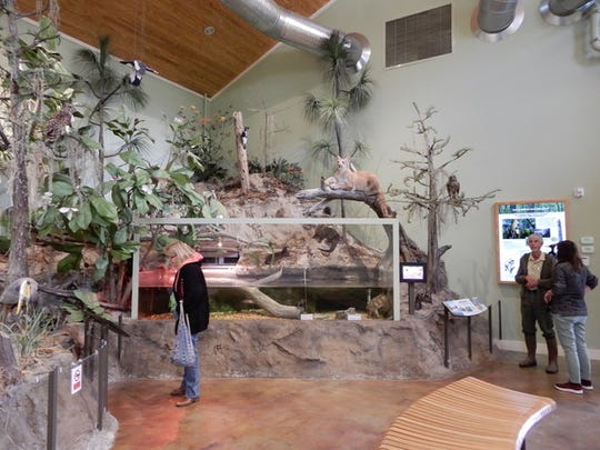 """Master Gardeners talked with """"Turtle Bob"""" inside one of the education rooms at the E.O. Wilson Biophilia Center."""