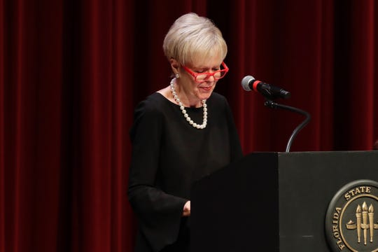 Sandy D'Alemberte's widow Patsy Palmer chokes up as she speaks in remembrance of her late husband at a memorial service held in his honor at Ruby Diamond Concert Hall Wednesday, June 5, 2019.