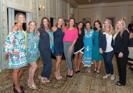 Tiffany Sellick, left, Laura McKinney, Laura Baird, Holly Digirolamo, Alison Partin, Tina Schmitt, Denice Buckner, Veronica Shimko, Ashley Rukeyser and Jennifer Crow at the Visiting Nurse Foundation Charity Golf Tournament and Auction.