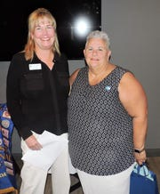 Jill Keegan, left, and new Soroptimist International transfer member Paula Austin at the Soroptimist International of Stuart annual Awards Celebration.