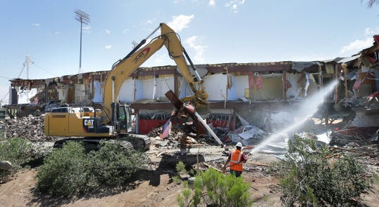 JMR Demolition razes Cohen Stadium in Northeast El Paso on Wednesday, June 5, 2019.