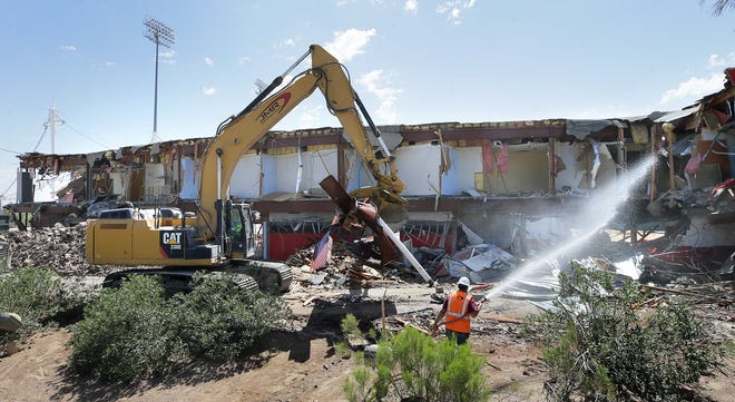 JMR Demolition razes Cohen Stadium in Northeast El Paso on Wednesday, June 5, 2019.