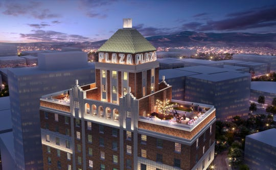 A rendering of how The Plaza Hotel Pioneer Park is expected to look when its renovation in completed later this year in Downtown El Paso. It will have a rooftop terrace bar.