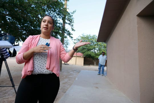 Arlean Murillo discusses the privately funded wall after a Sunland Park city council meeting Tuesday, June 4, in Sunland Park.