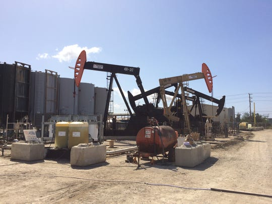 This photo shows a portion of a drilling operation outside Oxnard.