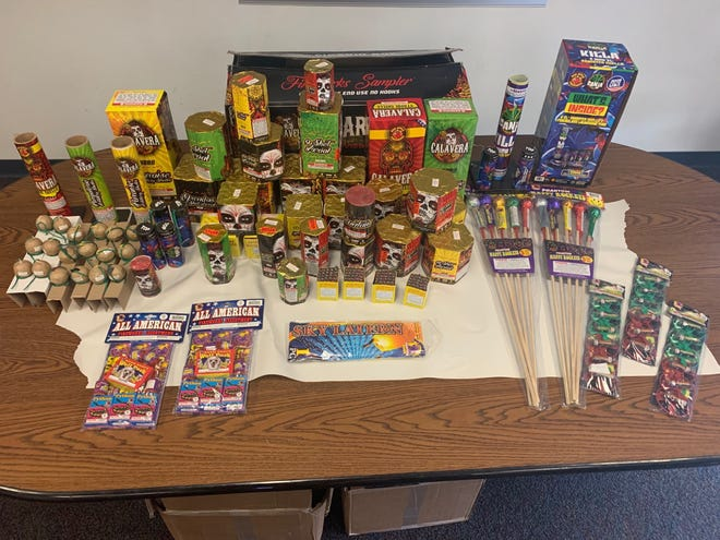 Illegal fireworks seized during a search of a vehicle in Port Hueneme on Monday.