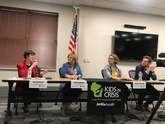 "A panel discussion followed a free screening of the documentary ""You're Not Alone"" at the Marathon County Public Library Wausau Headquarters on June 4, 2019. The film on youth mental health was produced by USA TODAY NETWORK-Wisconsin and Milwaukee PBS. Panelists from left to right included Lee Shipway, executive director of Peaceful Solutions Counseling and co-chair of the Marathon County School-Based Mental Health Consortium; Debi Traeder from Prevent Suicide Marathon County; Ashley Miller from Behavioral Health Center and NAMI-Northwoods; and Scott Meyers from Milwaukee PBS."