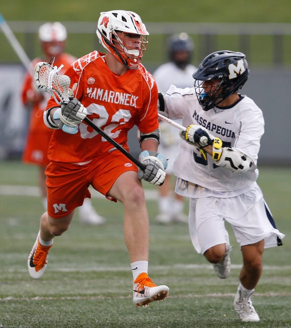 Mamaroneck's Will Charla looks to get ahead of Massapequa's Steven Caramelli during the Class A State Semi Final in Albany on June 5, 2019.