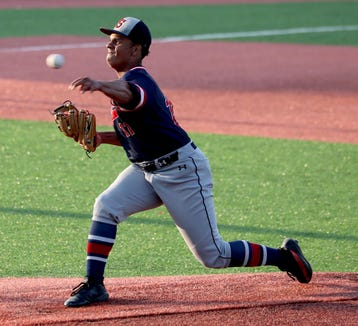 Izaiah Walker of Stepinac pitches to Iona Prep during a CHSAA semifinal baseball game against Iona Prep at St. John's University in Queens June 4, 2019. Walker got the win as Stepinac defeated Iona Prep 4-0.