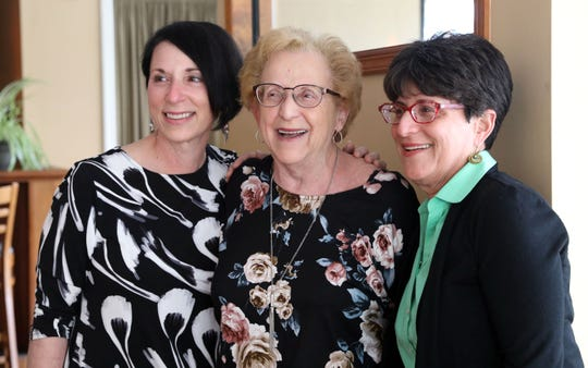 Longtime volunteer leader Betty Meisler, center, who was selected as one of the state's Senior of the Year honorees, with her daughters Carolyn Kris, left, and Helene Meisler, at a party in her honor at Mia Cucina in Blauvelt June 5, 2019.