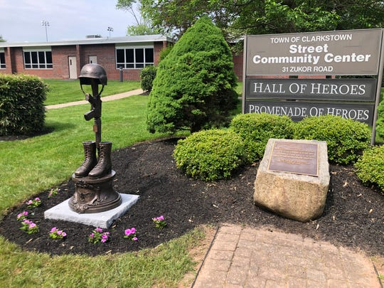 """""""The Fallen Soldier Memorial-Battlefield Cross"""" that stands outside the Street Community Center in New City, June 5, 2019"""