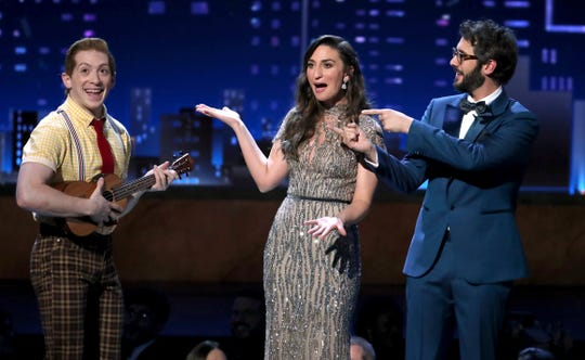 "Ethan Slater, left, of ""SpongeBob SquarePants: The Musical"" performs at the 72nd annual Tony Awards at Radio City Music Hall on Sunday, June 10, 2018, in New York. Looking on from right are co-hosts Josh Groban, and Sara Bareilles."