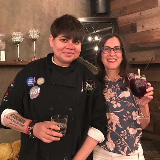 Chef Bonnie Saran with Lohud food reporter Jeanne Muchnick at the opening of Little Drunken Chef in White Plains June 4, 2019.