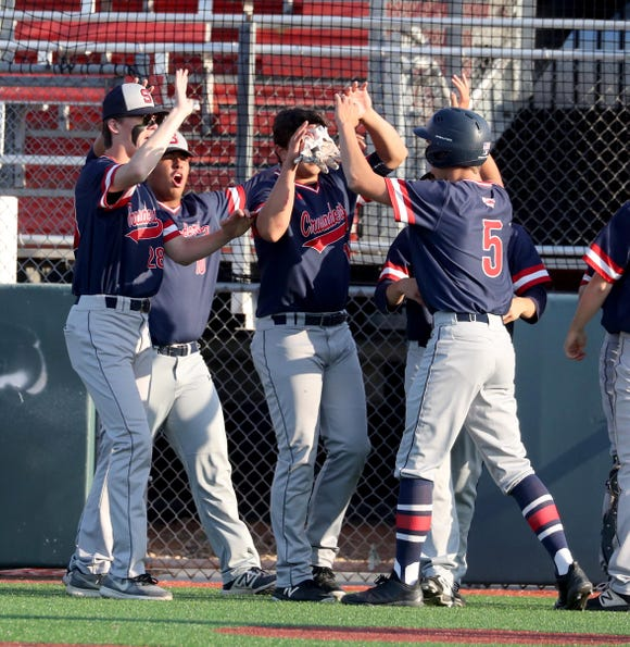 Stepinac celebrates after a two-run single in the third inning of a CHSAA semifinal baseball game against Iona Prep at St. John's University in Queens June 4, 2019.  Stepinac defeated Iona Prep 4-0.