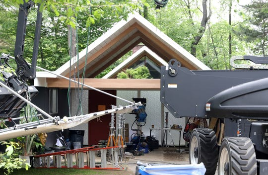 """Film shoot set for """"After Yang"""" starring Colin Farrell at the corner of Perth Avenue and Grotke Road in Chestnut Ridge June 5, 2019."""