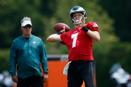 Philadelphia Eagles' Nate Sudfeld in action during organized team activities at the NFL football team's practice facility, Wednesday, June 5, 2019, in Philadelphia.
