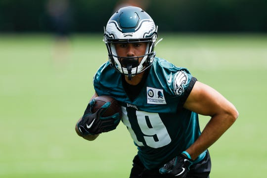 Eagles' J.J. Arcega-Whiteside participates in a drill during organized team activities at the team's practice facility, Wednesday in Philadelphia.