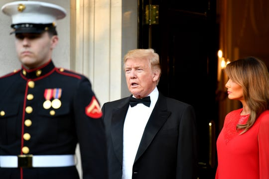 President Donald Trump and First Lady Melania Trump host a dinner at Winfield House for Prince Charles, Prince of Wales and Camilla, Duchess of Cornwall, during their state visit on June 4, 2019 in London, England.