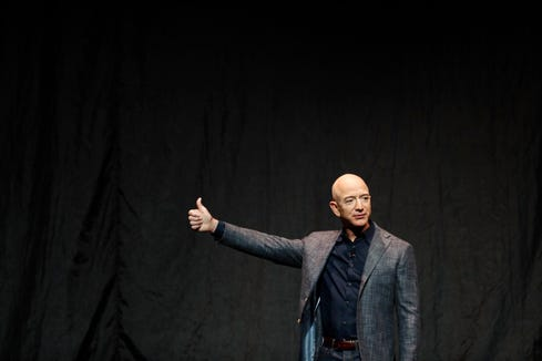 Jeff Bezos speaks at an event before unveiling Blue Origin's Blue Moon lunar lander, Thursday, May 9, 2019, in Washington.