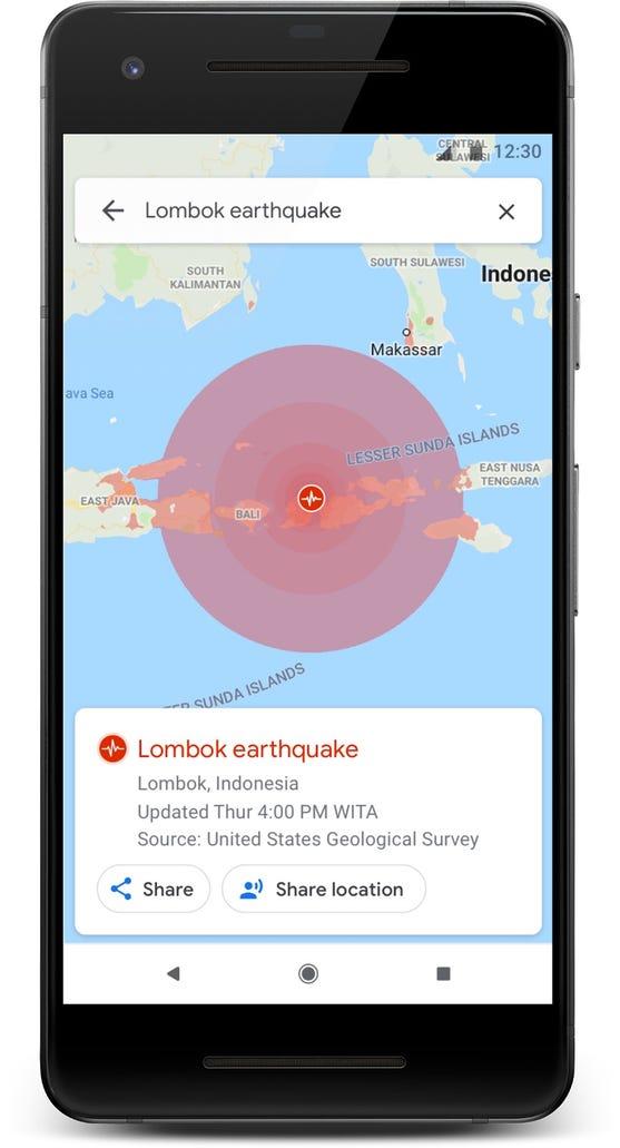 Google Maps helps you visualize an earthquake.