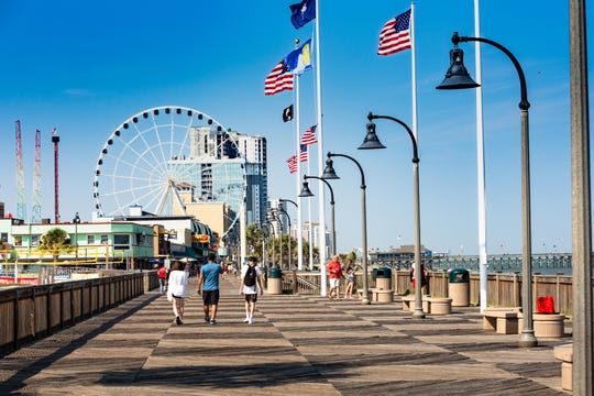 The 1.2-mile stretch of the Myrtle Beach Oceanfront Boardwalk and Promenade
