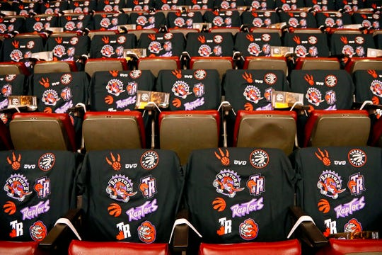 A look at shirts the Toronto Raptors gave out for Game 1 of the NBA Finals.