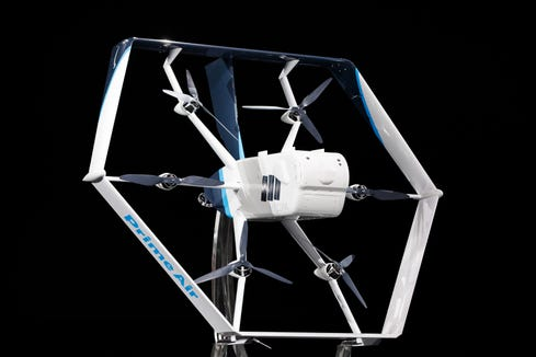 Amazon unveiled its latest Prime Air drone design Wednesday.